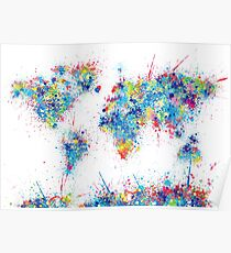 world map color splats Poster