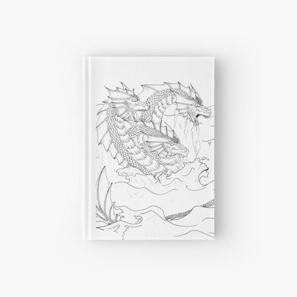 Hand Drawn Fantasy Three Headed Sea Dragon Hardcover Journal