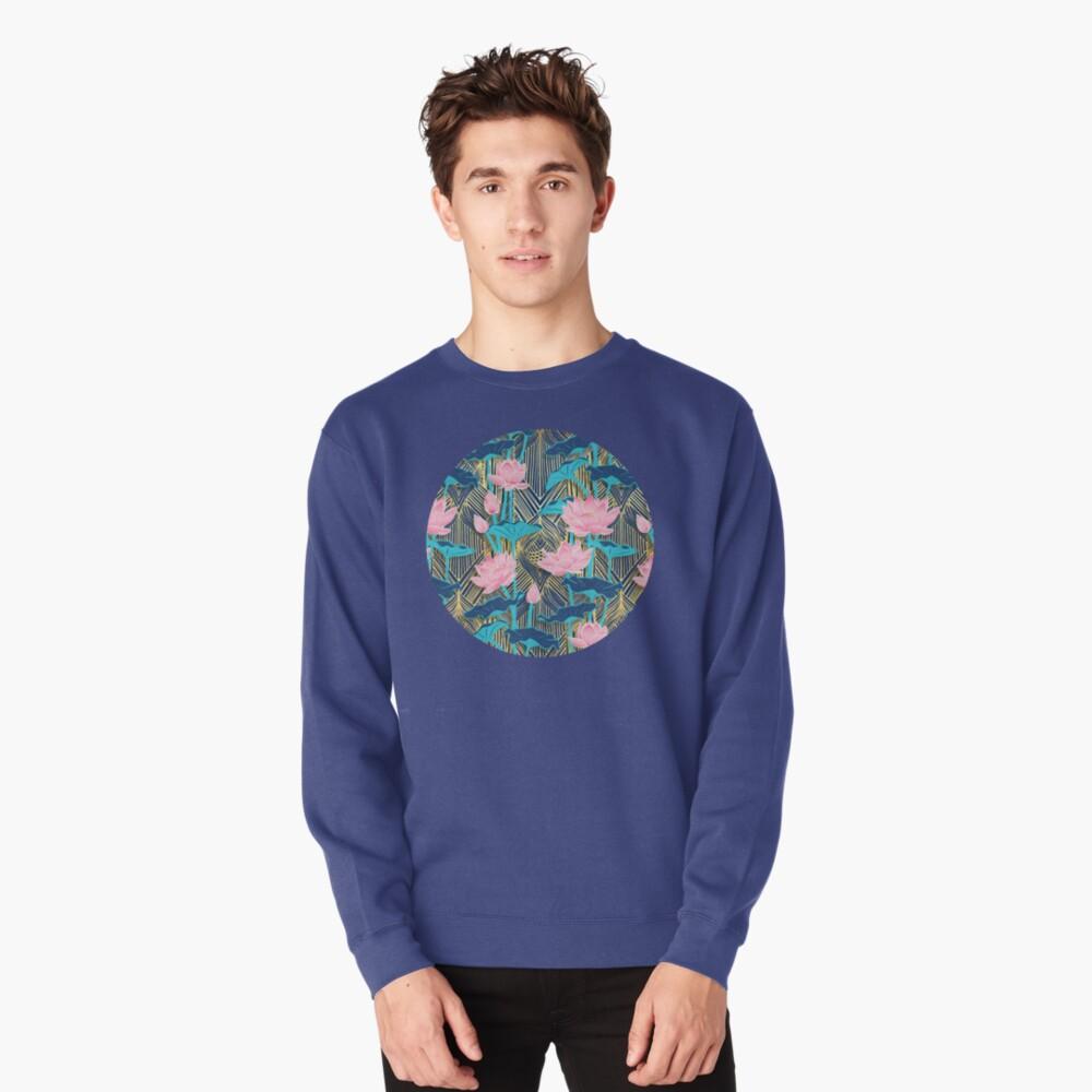 Art Deco Lotus Flowers in Pink & Navy Pullover Sweatshirt
