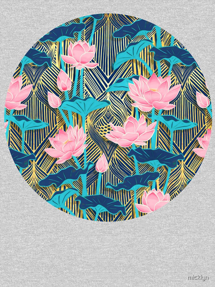 Art Deco Lotus Flowers in Pink & Navy by micklyn