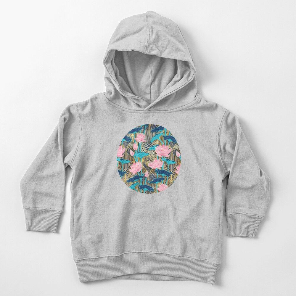 Art Deco Lotus Flowers in Pink & Navy Toddler Pullover Hoodie