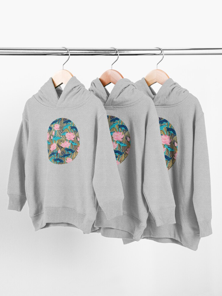 Alternate view of Art Deco Lotus Flowers in Pink & Navy Toddler Pullover Hoodie