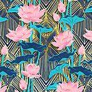 Art Deco Lotus Flowers in Pink & Navy by micklyn