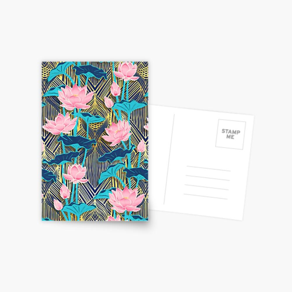 Art Deco Lotus Flowers in Pink & Navy Postcard