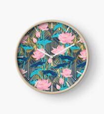 Art Deco Lotus Flowers in Pink & Navy Clock