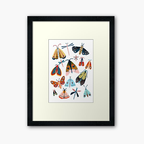 Woodland Moths Framed Art Print