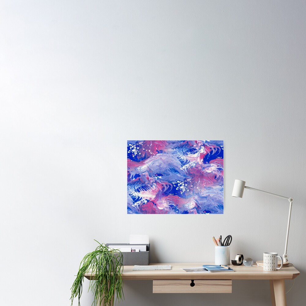 Pink and blue finger Painting Pattern Poster