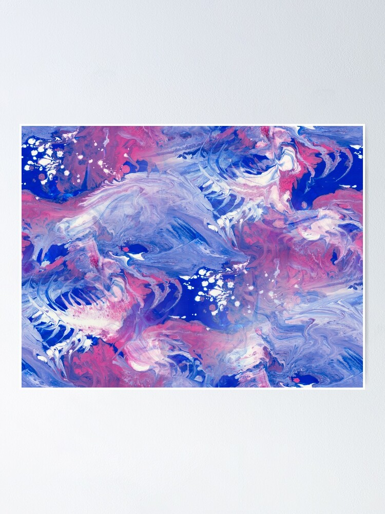 Alternate view of Pink and blue finger Painting Pattern Poster