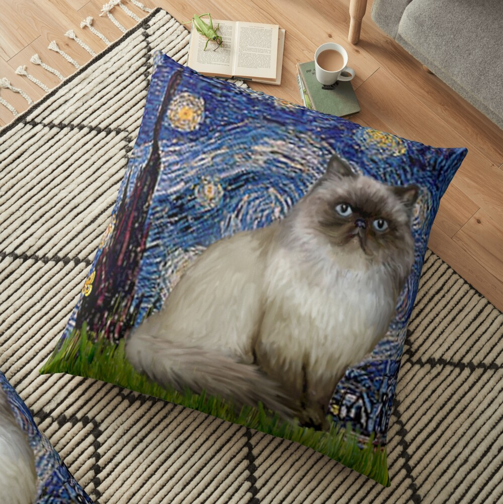 """Famous Art:  """"Starry Night"""" (Van Gogh)-adapted with a Himalayan Cat Floor Pillow"""