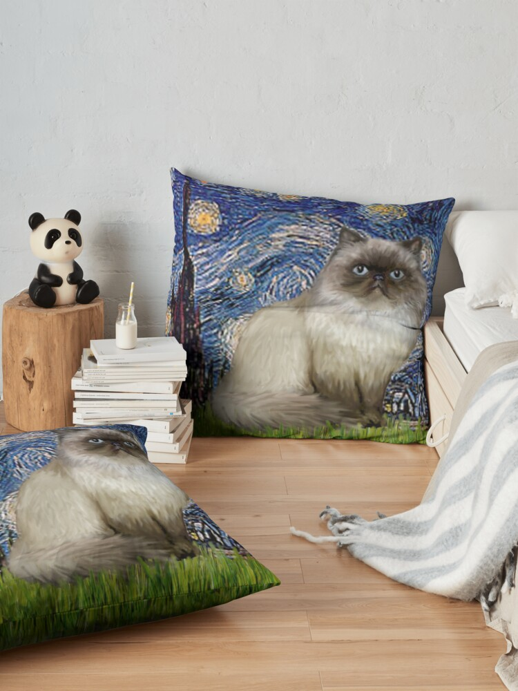 """Alternate view of Famous Art:  """"Starry Night"""" (Van Gogh)-adapted with a Himalayan Cat Floor Pillow"""