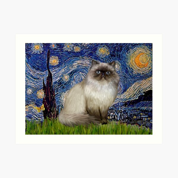"""Famous Art:  """"Starry Night"""" (Van Gogh)-adapted with a Himalayan Cat Art Print"""