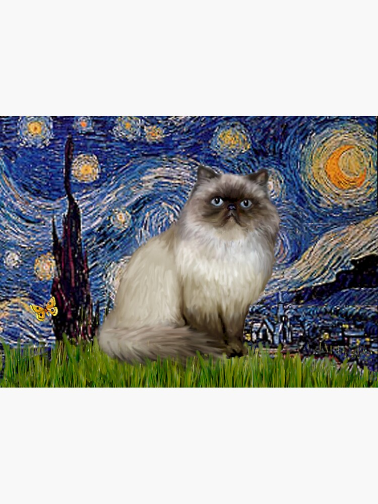 """Famous Art:  """"Starry Night"""" (Van Gogh)-adapted with a Himalayan Cat by JeanBFitzgerald"""