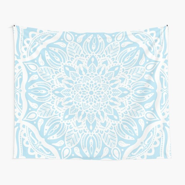 Pastel Blue and White Mandala Tapestry