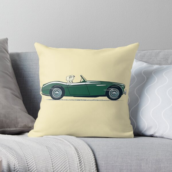 Austin Healey 3000 sporting British Racing Green colour in 1959 'launch' promotion Throw Pillow