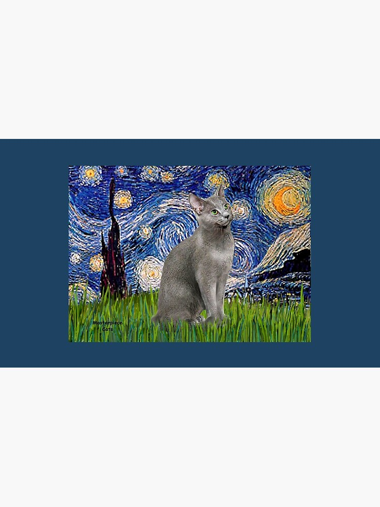 """""""Starry Night"""" (Van Gogh)-with a Russian Blue Cat by JeanBFitzgerald"""