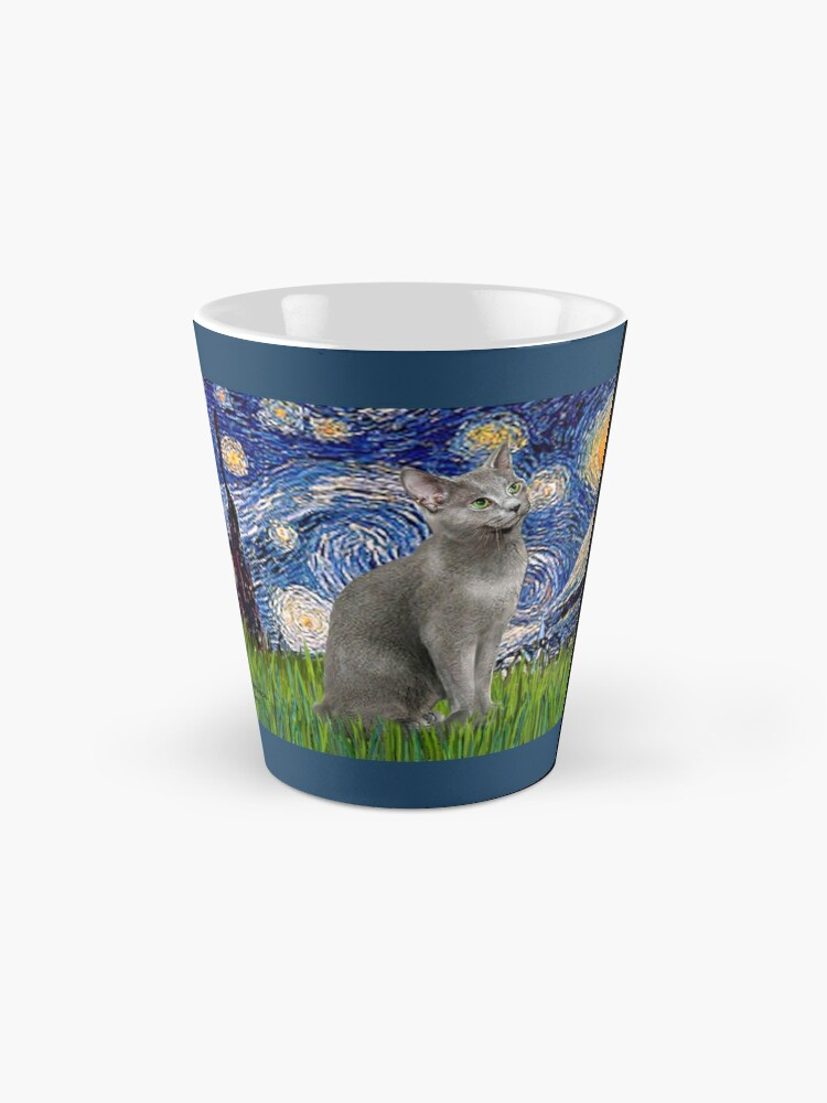 """Alternate view of """"Starry Night"""" (Van Gogh)-with a Russian Blue Cat Mug"""