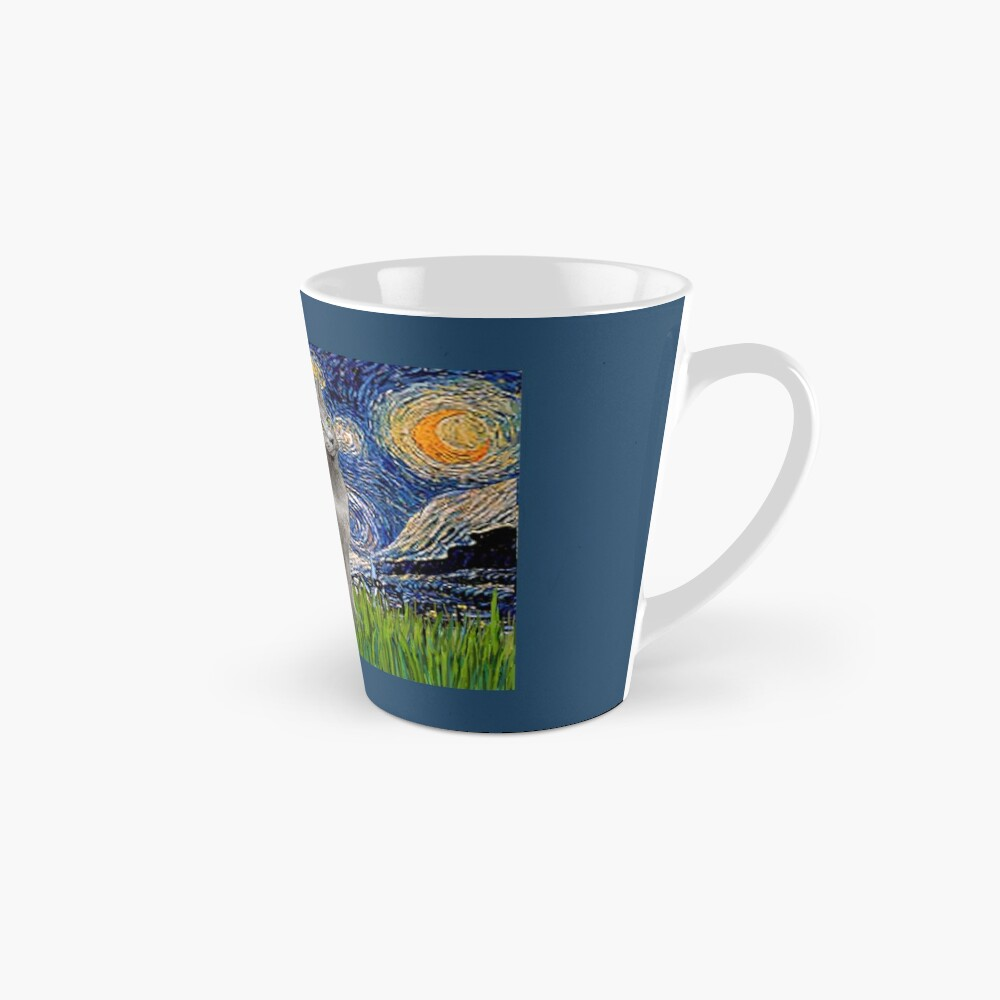 """Starry Night"" (Van Gogh)-with a Russian Blue Cat Mug"