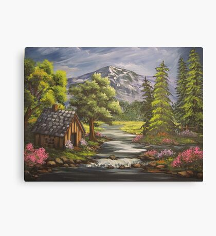 Cabin By the Stream Canvas Print