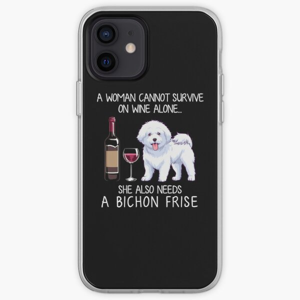Bichon Frise and wine Funny dog iPhone Soft Case