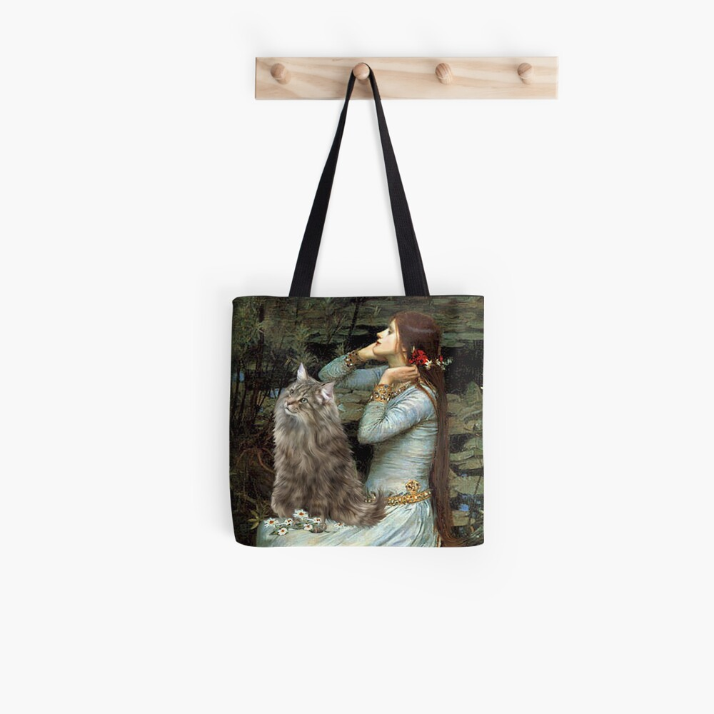 "Famous Art:  ""Ophelia"" (Waterhouse)-Norwegian Forest Cat Tote Bag"