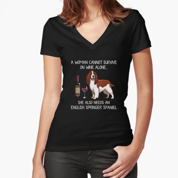 English Springer Spaniel and wine Funny dog Fitted V-Neck T-Shirt