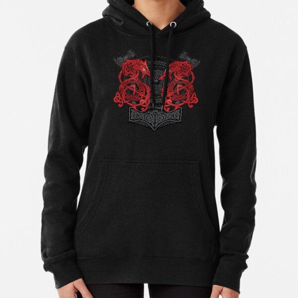 Fighting Fenrir Red Pullover Hoodie