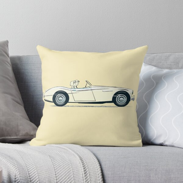 Austin Healey 3000  in Ivory White and in 1959 launch style promotion  Throw Pillow