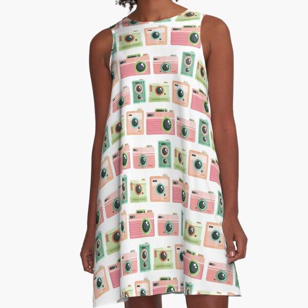 Vintage Camera Pattern No. 1 A-Line Dress
