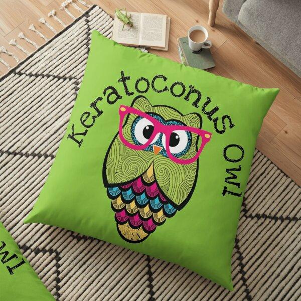 Cute Owl - KC Treatment Owl - Keratoconus Owl - Happy Gift Ideas KC - Kc Symptoms - Keratoconus Lenses Floor Pillow