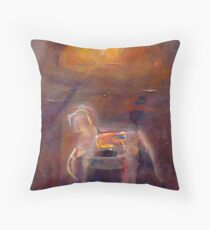 Horse in Sunlit Stable-Tarquinia, Italy Throw Pillow