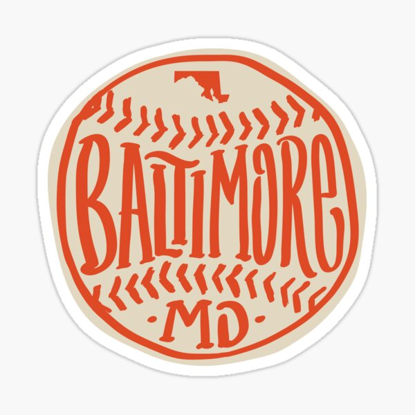 Hand Drawn Baseball for Baltimore with custom Lettering Sticker