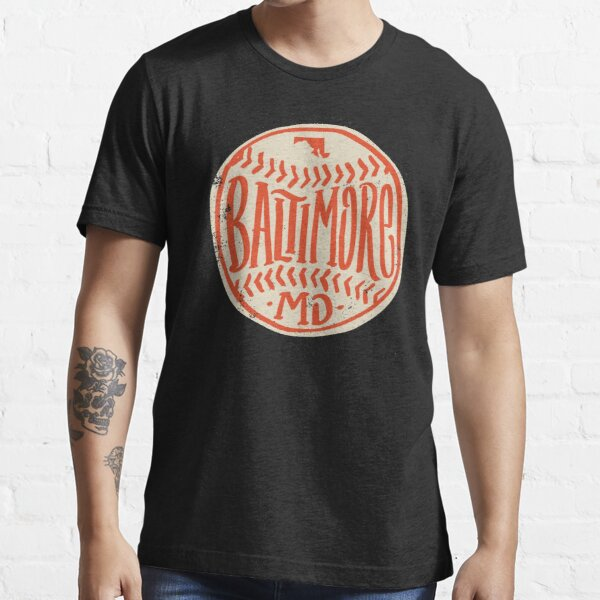 Hand Drawn Baseball for Baltimore with custom Lettering Essential T-Shirt