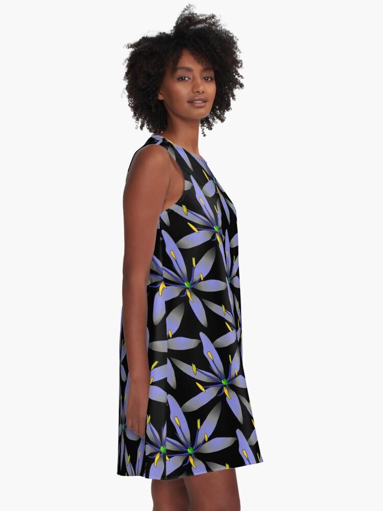Alternative Ansicht von blaue Blumen A-Linien Kleid