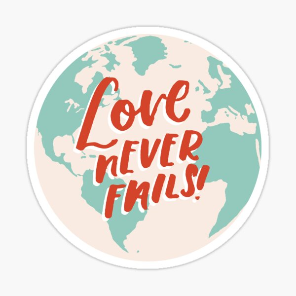 Love Never Fails Turquoise Globe   JW International Convention Gift Sticker