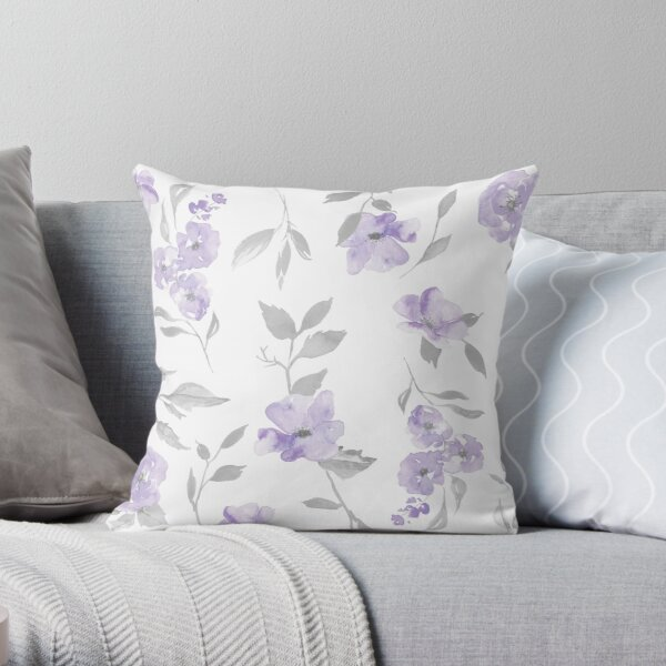 Copy of Lavender and Grey Light Floral Throw Pillow
