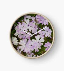 Green and Purple Watercolor Floral Pattern Clock