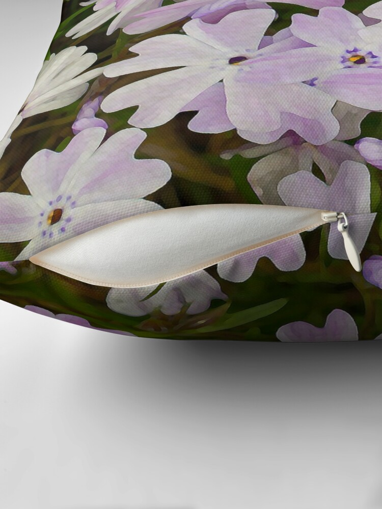Alternate view of Green and Purple Watercolor Floral Pattern Throw Pillow