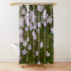 Green and Purple Watercolor Floral Pattern Shower Curtain