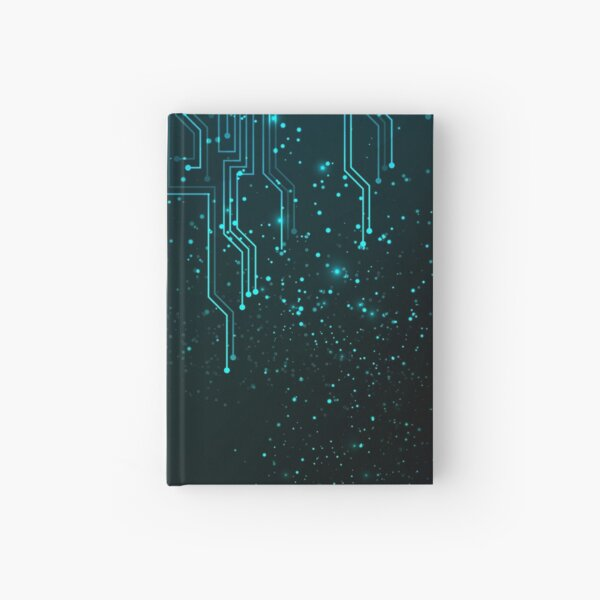Abstract Blue Lights Circuit Board Hardcover Journal
