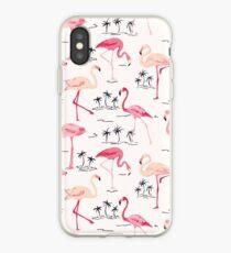Flamingo Bird Retro Background iPhone Case