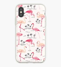 Flamingo Vogel Retro Hintergrund iPhone-Hülle & Cover