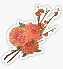 peony and plum flower black Sticker