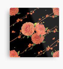 peony and plum flower black Metal Print