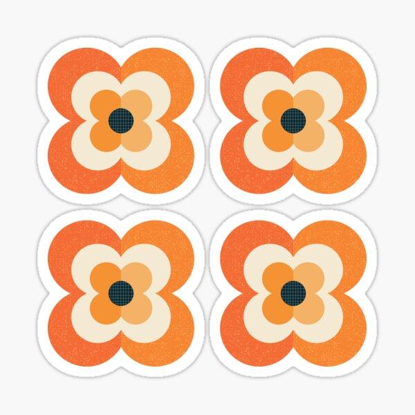 Retro Flowers - Orange and Charcoal Sticker