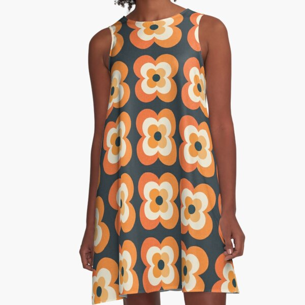 Retro Flowers - Orange and Charcoal A-Line Dress