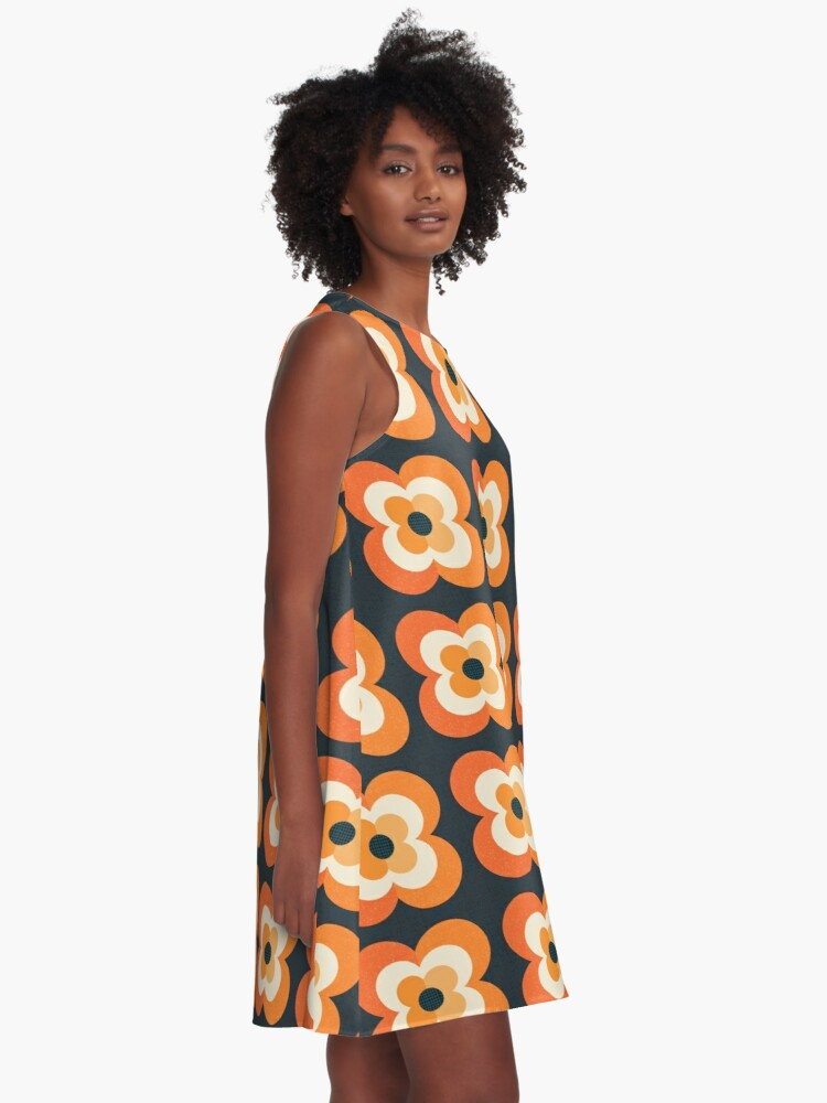 Alternate view of Retro Flowers - Orange and Charcoal A-Line Dress