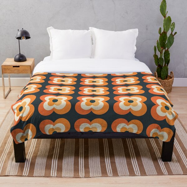 Retro Flowers - Orange and Charcoal Throw Blanket