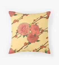 peony and plum flower white Throw Pillow
