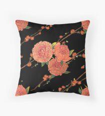 peony and plum flower black Floor Pillow