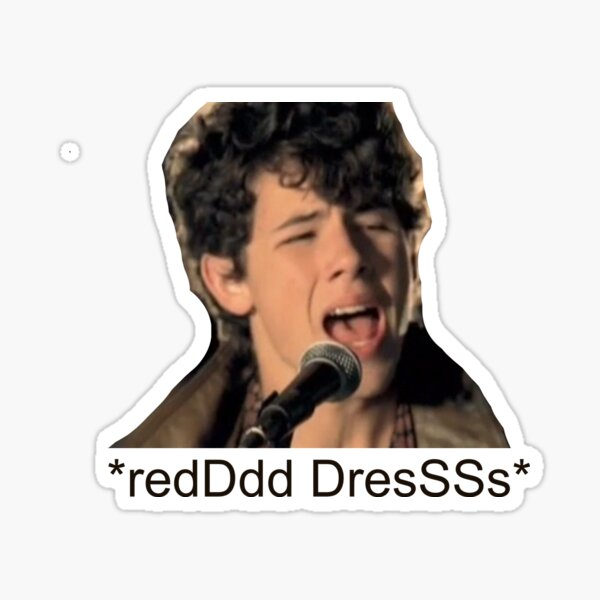 Nick Jonas Red Dress Lyric Pegatina